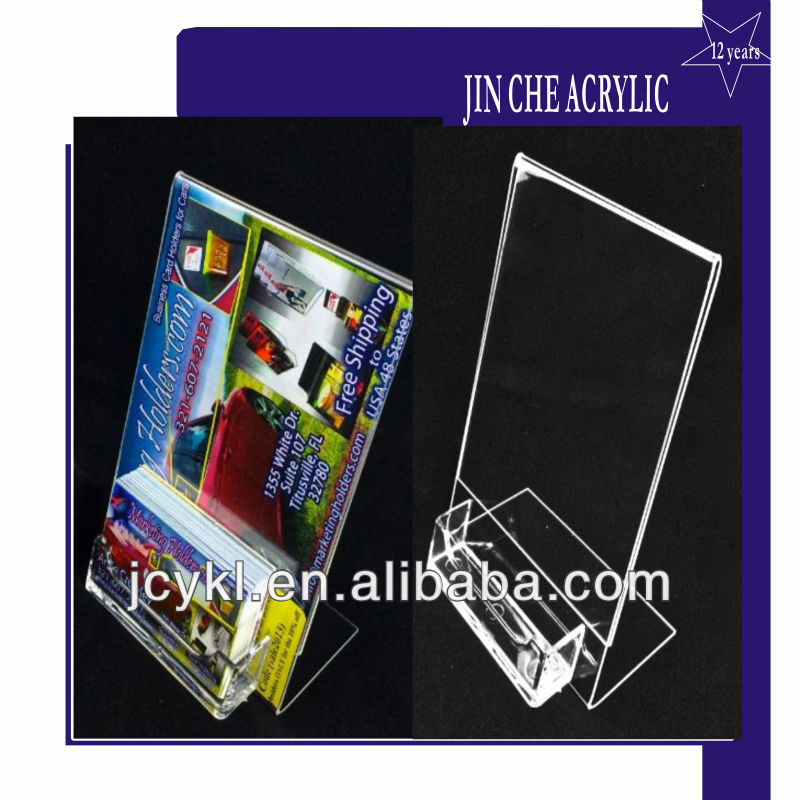 Marketing Holders 5X7 clear slant back ad frame with busness card holder
