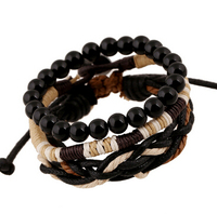 Handmade Band lowest price three-piece wood bead wax rope woven bracelets