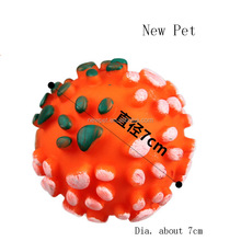 Processing customized hot selling dot squeaky dog toy ball colorful ball vinyl dog toys
