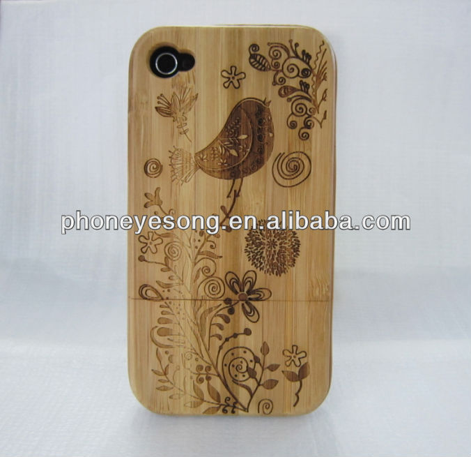 Little Bird bamboo wood case for iphone 4/4s,for iphone 4 wood case,accept custom