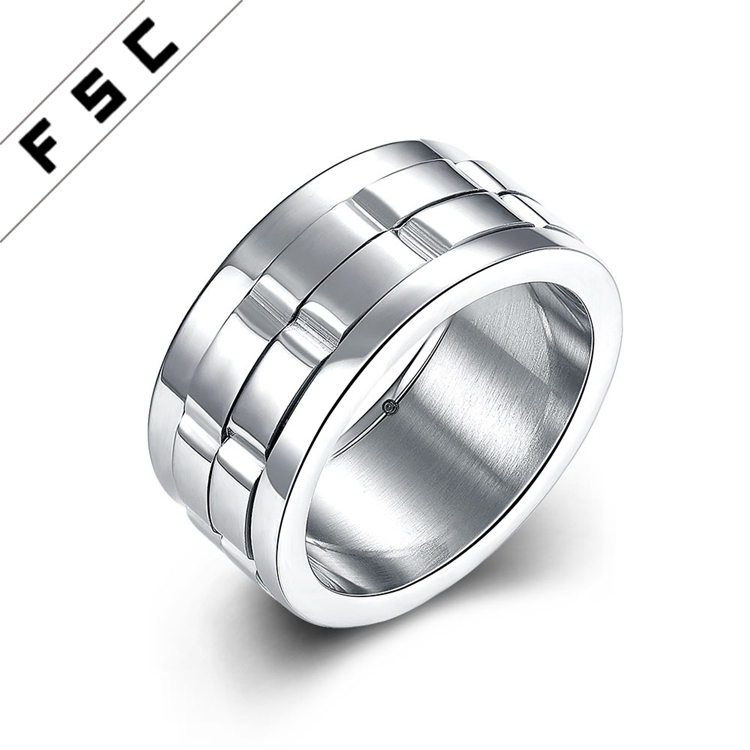 Fashion Jewelry Rotating Gear Spinner Stainless Steel Gay Men Ring