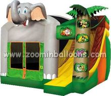 Tropical design inflatable jumping house with water slide for sale Z2036