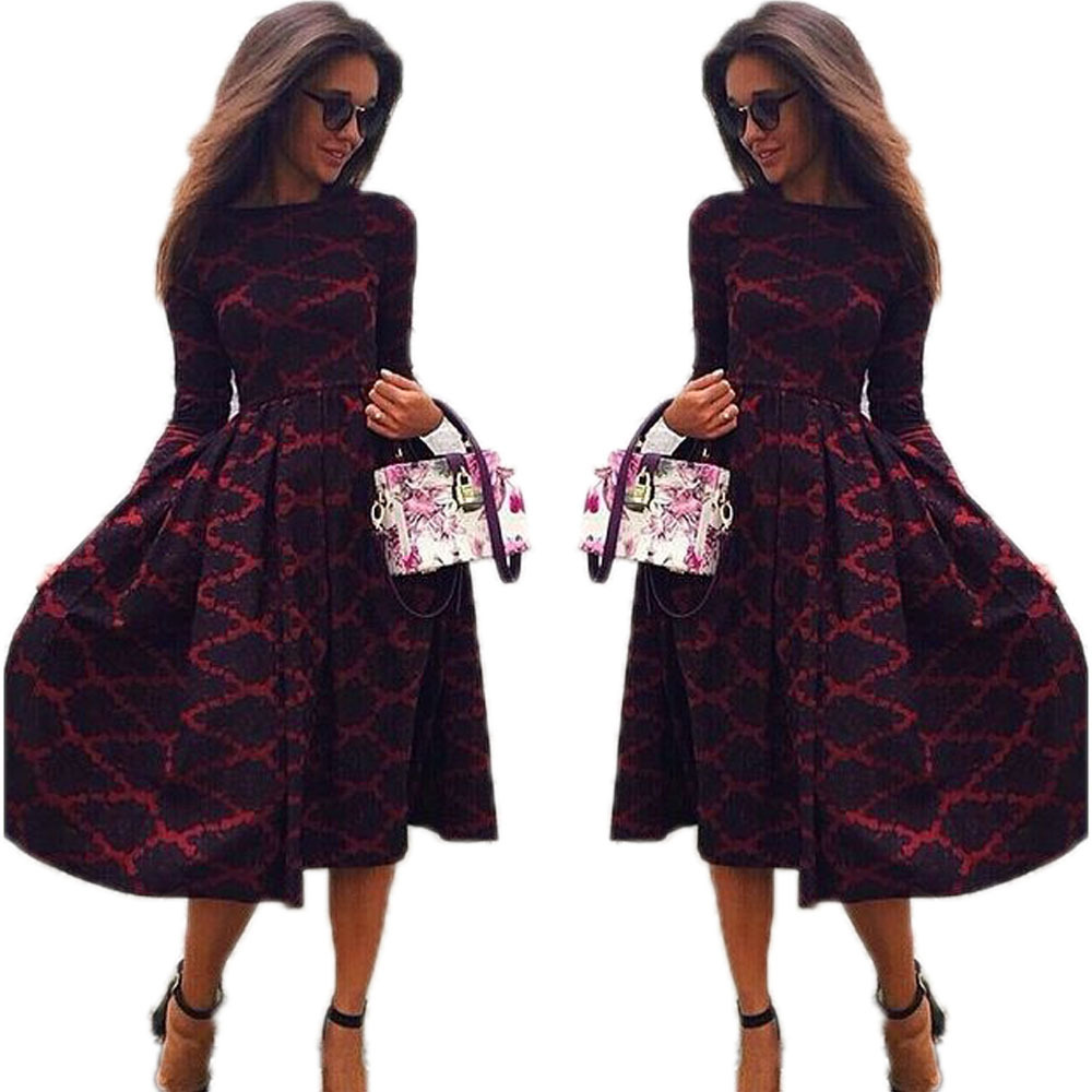 S62715A europe printed lady dresses long sleeve autumn woman maxi dress