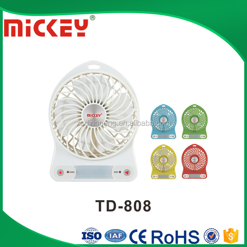 "Factory low price 4"" inch rechargeable mini fan USB fan with LED"