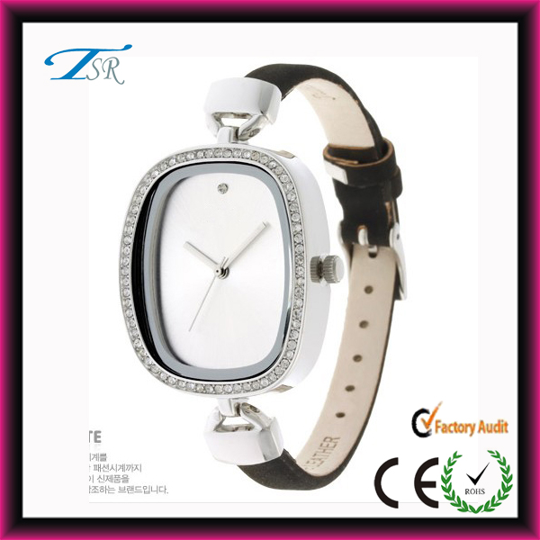 Thin leather wrist brand name women's rhinestones square vogue watches ladies 2014