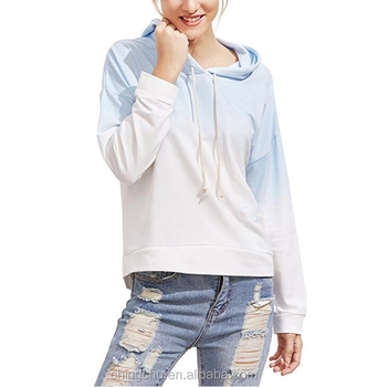 Women's Sweatshirt Pullover Hoodie Cotton Shirt Blue Ombre 2017 fashion woman tops