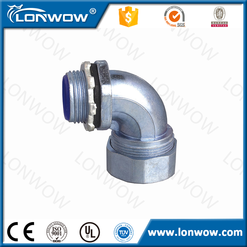 Electrical 90 degree zinc alloy union connector