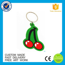 Personalized cherry soft rubber fruit pvc key chain