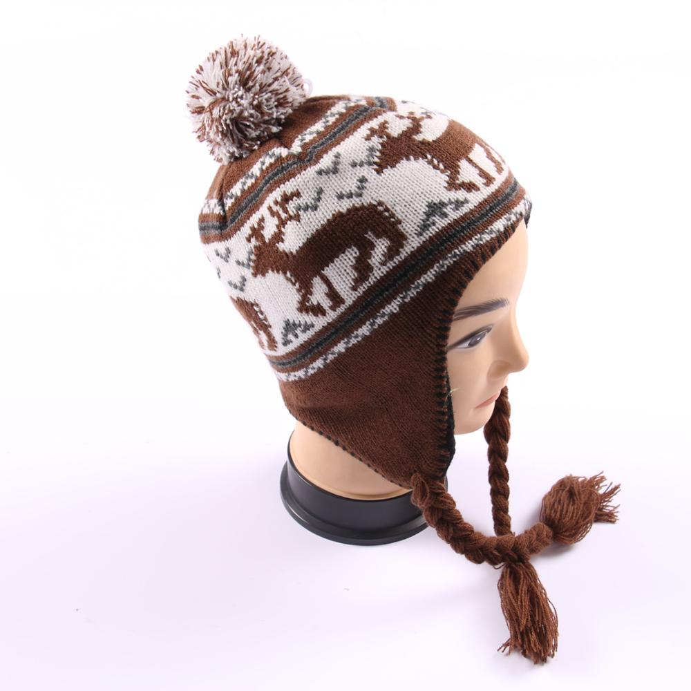 High quality winter knitted beanie hats with earflaps