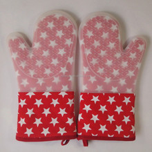 Newly Hot USA Flag Pattern Printed Kitchen Cooking Glove BBQ Silicone Oven Mitt