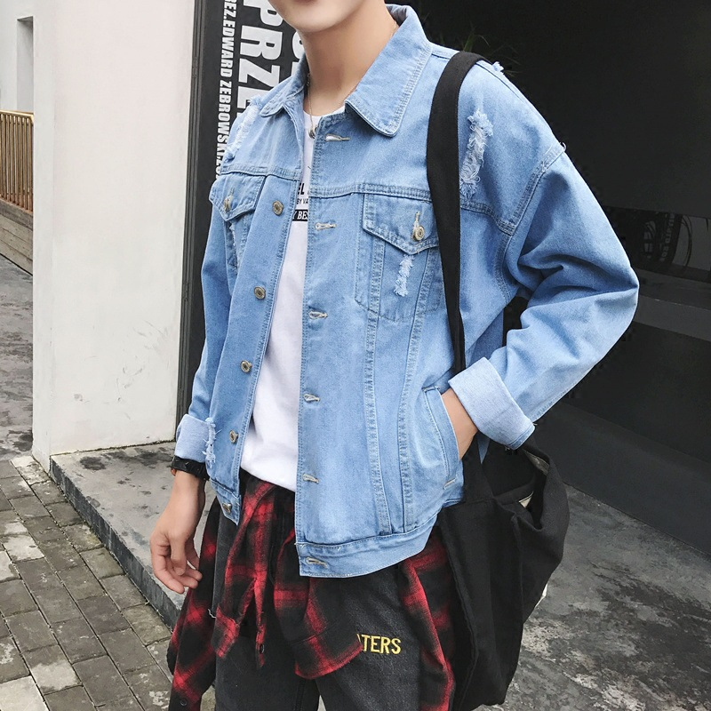 2017 new autumn fashion mens clothing mens jean jacket stand collar 100% cotton denim jacket men hot mens jackets and coats
