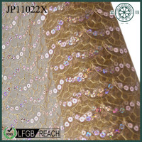 nylon & polyester gold sequin fabric