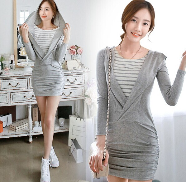 D62517T 2014 korean spring and autumn new style women's long sleeve false two pieces dress