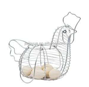 metal wire cock shaped egg basket chicken shaped egg basket funny basket
