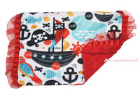 Baby Infant Newborn Ocean Pirate Anchor Red Minky Dots Pillow Cover Pillowcase