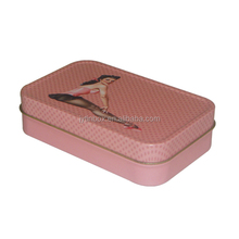 Chinese factory custom design cosmetic gift small tin box square shape cosmetic candy tin box