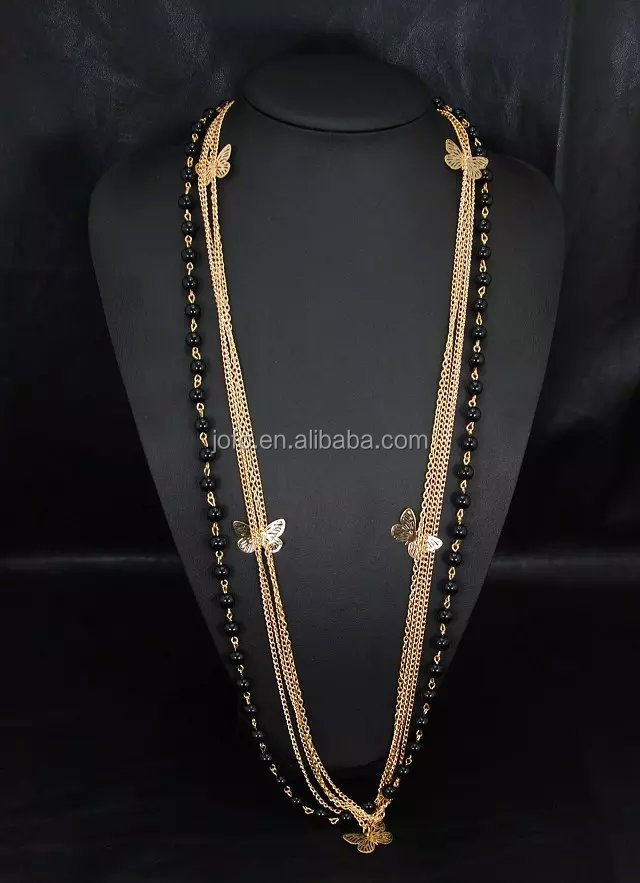 Latest Fashion Design Elegant Style Gold Plated Butterfly Design Chain Long Beaded Necklaces