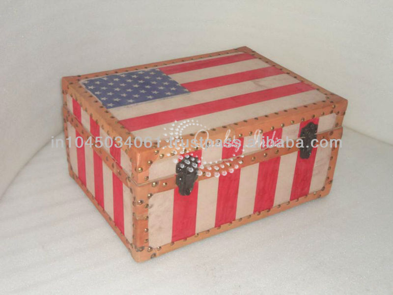 Designed Red Color Storage Trunk Box