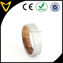 Palladium Wedding Band with Sindora Sleeve ,Wood Ring,Ring Armor Included Commitment wood Ring