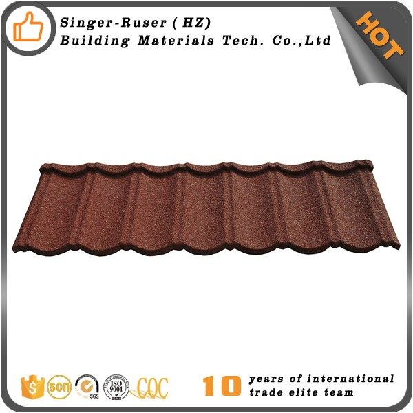 Low Cost Chinese Roof Tiles , Sand Coated Metal Roofing Tiles