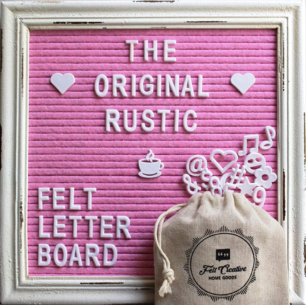 "Pink Felt Letter Board Rustic White Wood hot sale Vintage Frame Stand Felt 10""<strong>x10</strong>""Changeable Nursery Baby Announcement Board"