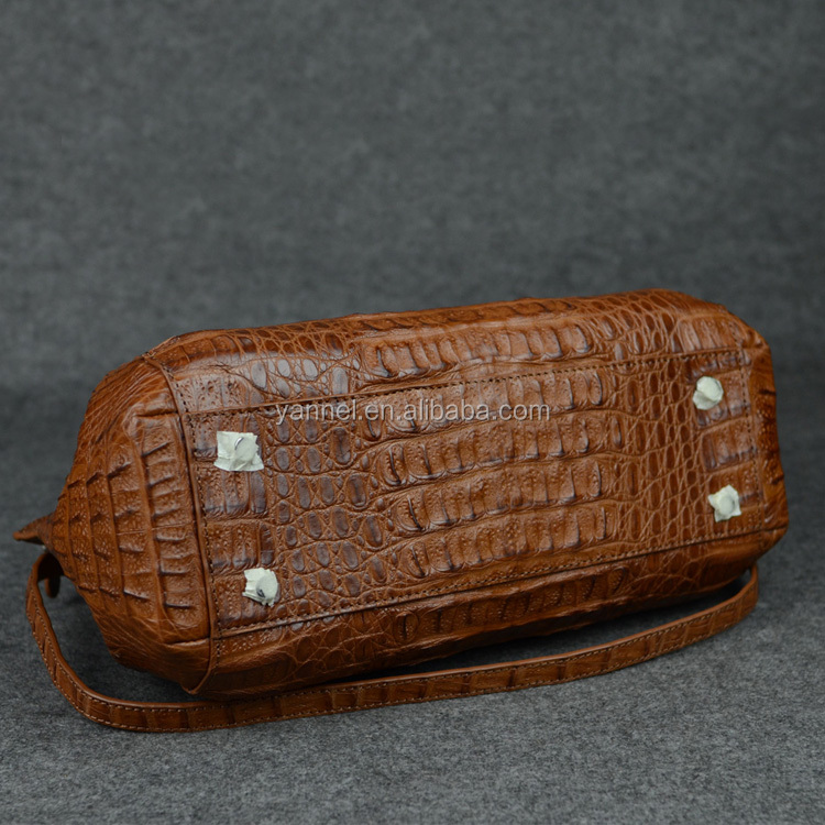 crocodile fuscus tote bag_ exotic bag_animal skin handbag Tan brown