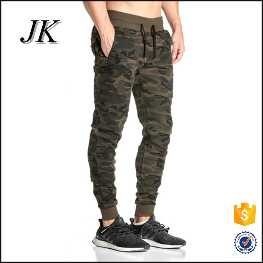 Custom jogger pants gym wear slim fit sweatpants camo joggers for men with logo printed