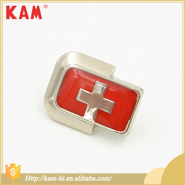 Red Cross Pattern Nickel Fashionable Cheap Wholesale Metal Label