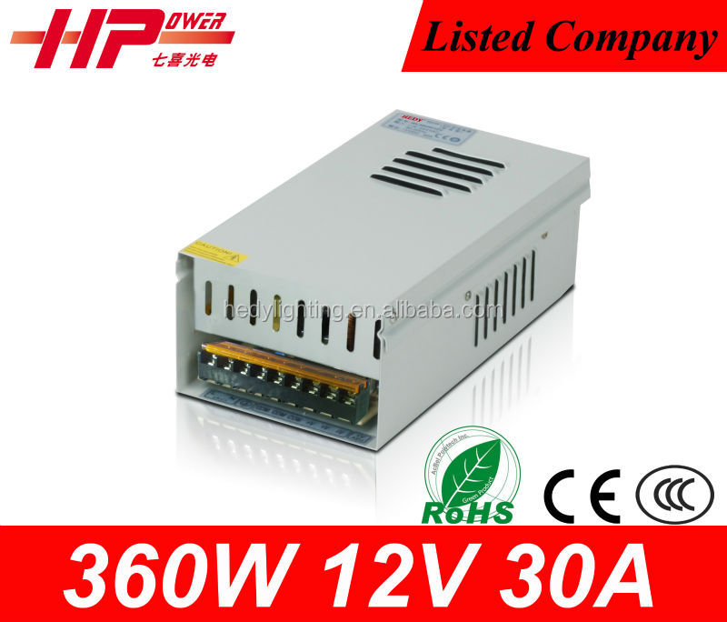 CE RoHS high power AC to DC constant voltage single output HL-360W-12V rainproof switch 12V 30A 360W led switching power supply