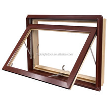 Hot sales foldable crank handle awning window with aluminum wooden frame grille design