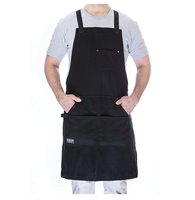 Professional japanese chef apron pattern BBQ grill black apron with zipper pocket