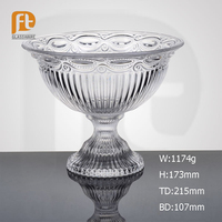 China Factory Elegant Clear Big Glass Tableware Fruit Bowl with Stem Home Use