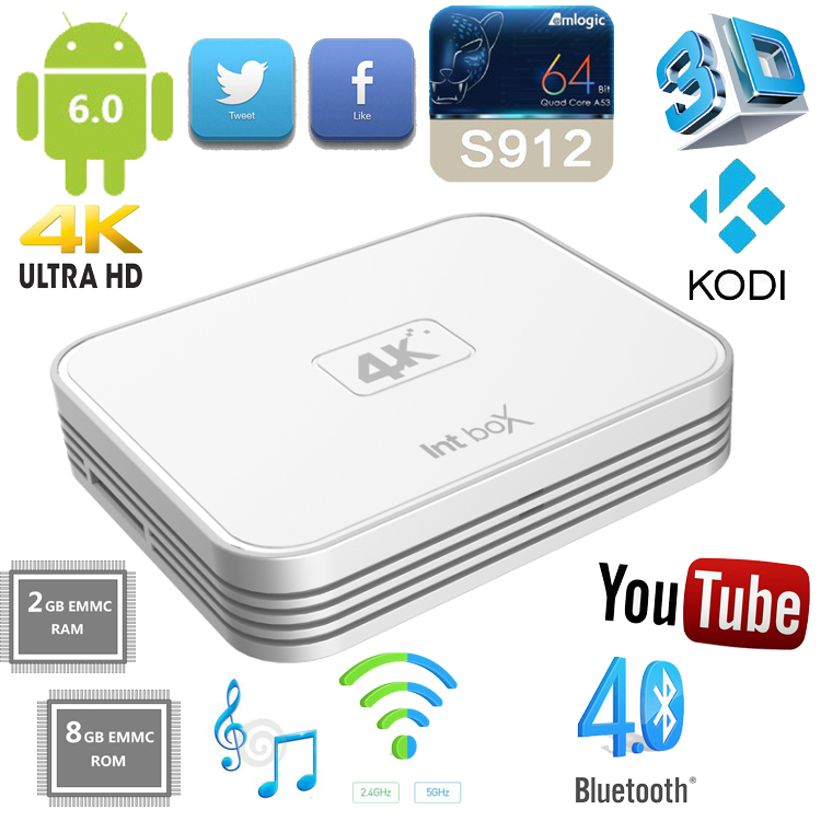 New arrival ! Amlogic S912 octa core android tv box intbox i7 with Dual-band WIFI ip box internet tv set top box