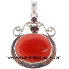 Sterling silver red onyx pendant