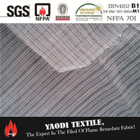 Cheap flame retardant 100% polyester stripe voile fabric for curtain