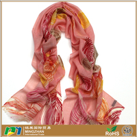 100% merino wool pink ladies scarves and wraps,warm large round print tassel circle scarf