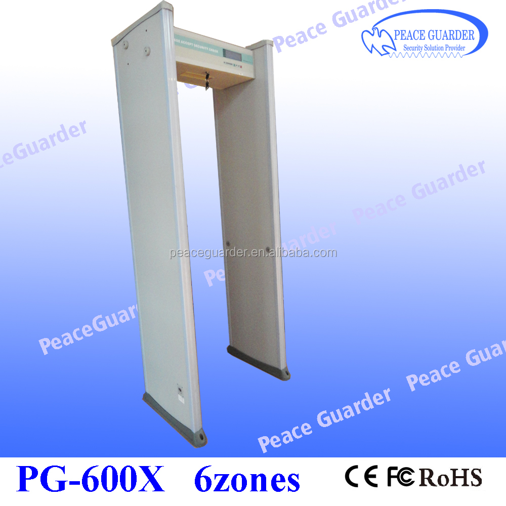 Walk Through Metal Detector industrial security equipment Waterproof walk through metal detector gate 6 zones small LCD PG-600X