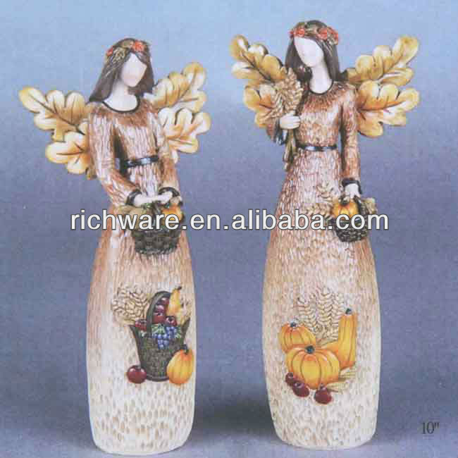 Resin angel figurines for harvest decoration