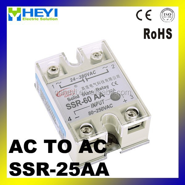 SSR relay 25A AC to AC single phase solid state relay