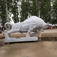 Outdoor Decorative Stone Marble Life Size Fighting Bull Statue