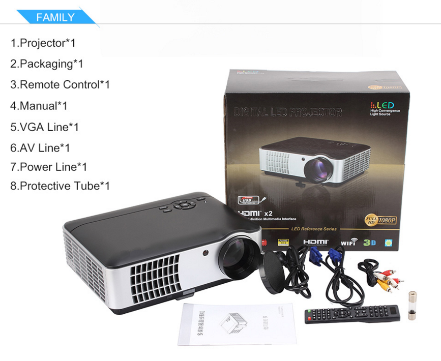 2800lumens 1280*800 Projector RD-806 FULL HD LED 3D Home Theater Projectors