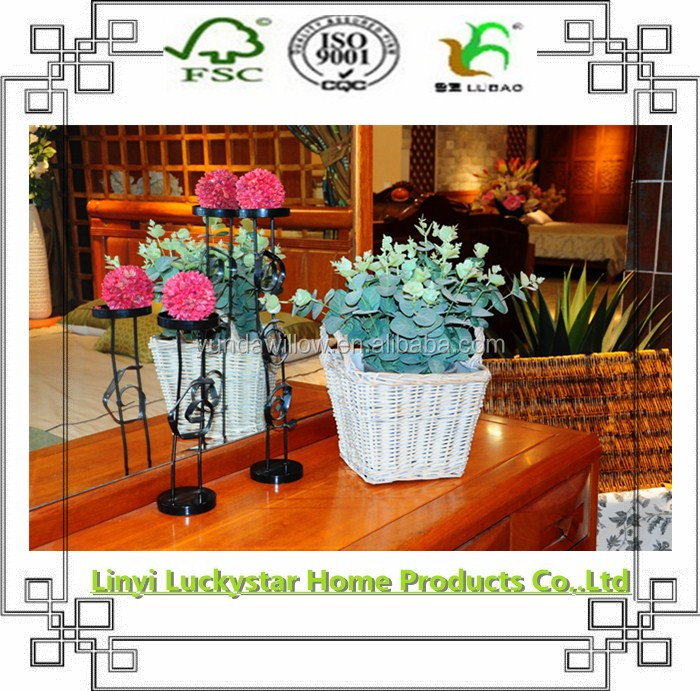 white wicker baskets for flower and plant
