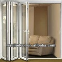 frosted glass white color aluminium folding bathroom door