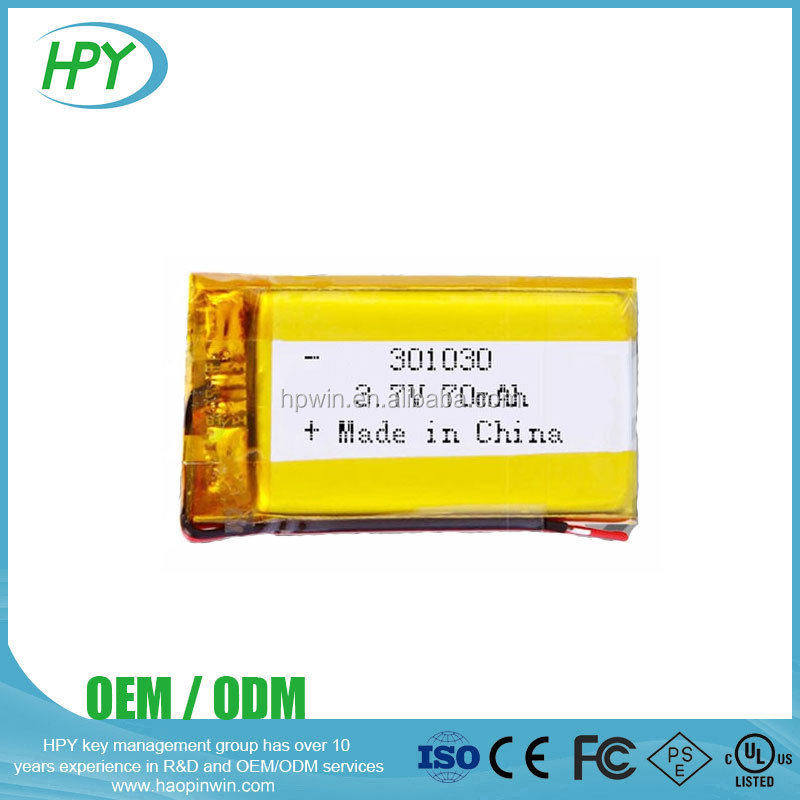 Custom 301030 3.7v 70mAh Lithium Polymer Finished Rechargeable LiPo Batteries Battery for Bluetooth Earphone Smart Bracelets