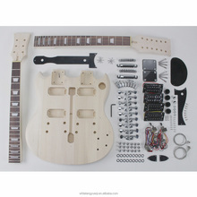 Unfinished 12 string double neck electric guitar kit
