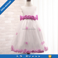 patterns flower girl KIDS wear net purple flower dress