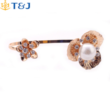 Fashion new arrival gold plated jewelry crystal pearl bracelet cuffs flower shaped bangle and ring cuff