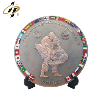 Personalized customization 3D  zinc alloy metal enamel judo sports award plaque