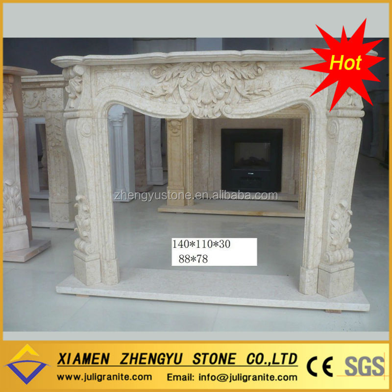 2014 hot sale natural marble made hand carved stone fireplace mental