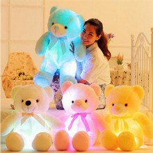 Luminous plush bear cotton kawaii soft musical baby stuffed toys for valentine